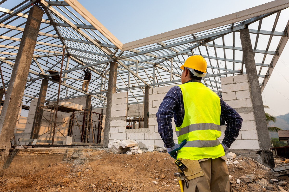 construction engineer worker,Civil engineer checking work at the