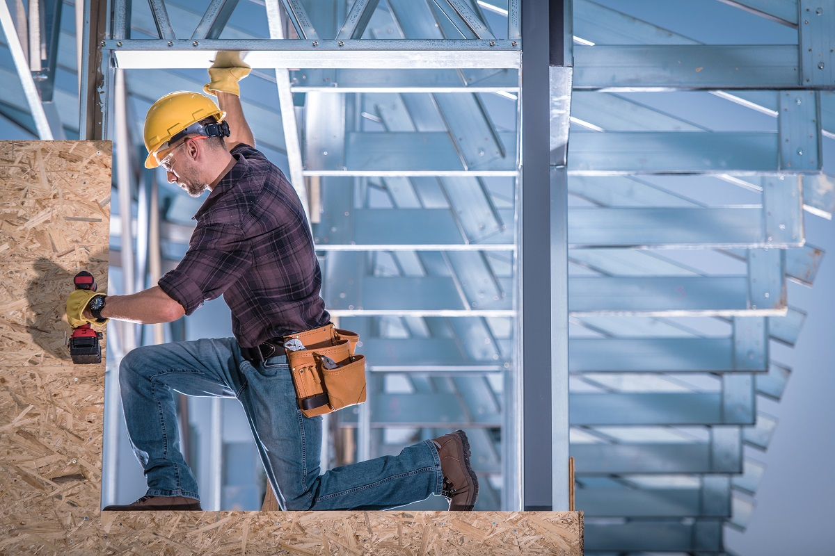 Steel Frame Construction Worker
