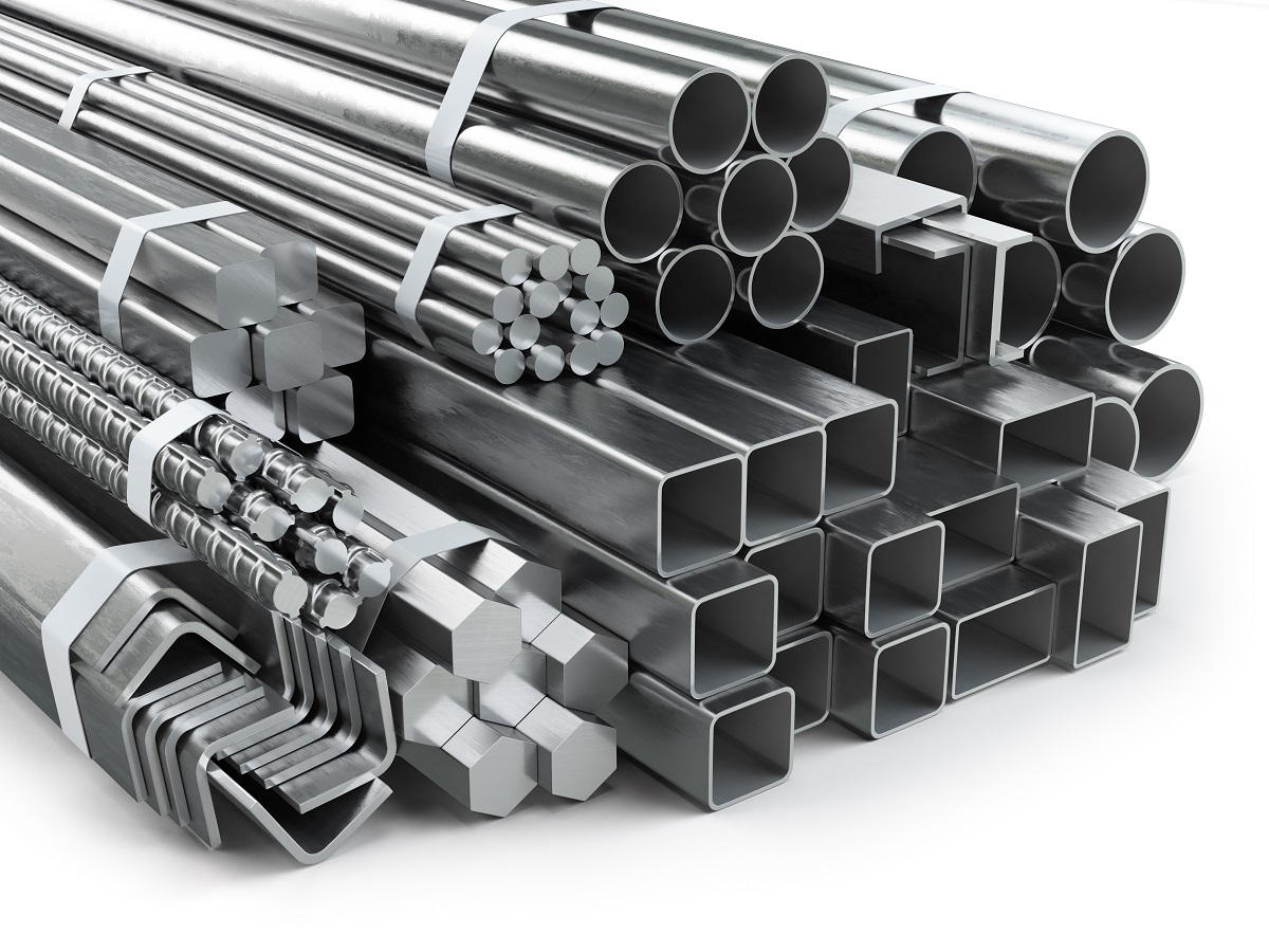 Different metal products. Stainless steel profiles and tubes.