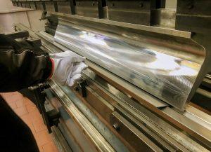 Sheet industrial metal bending in factory